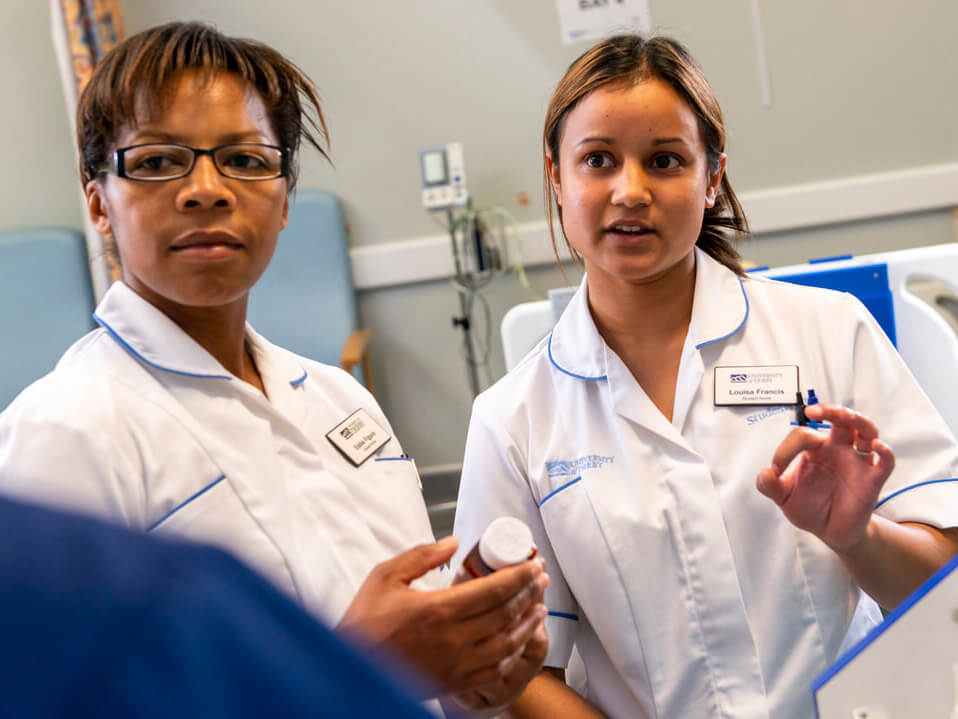 student nurses training in a hospital ward