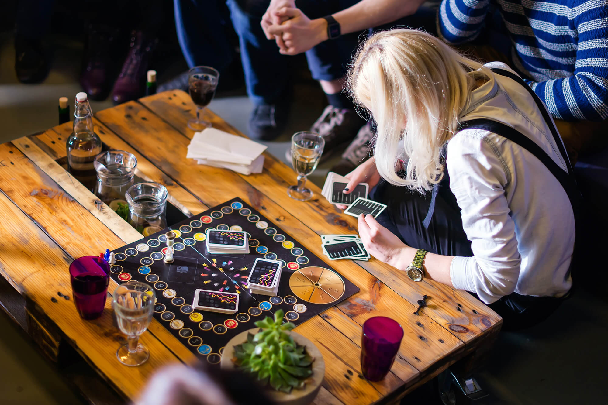 People playing board games