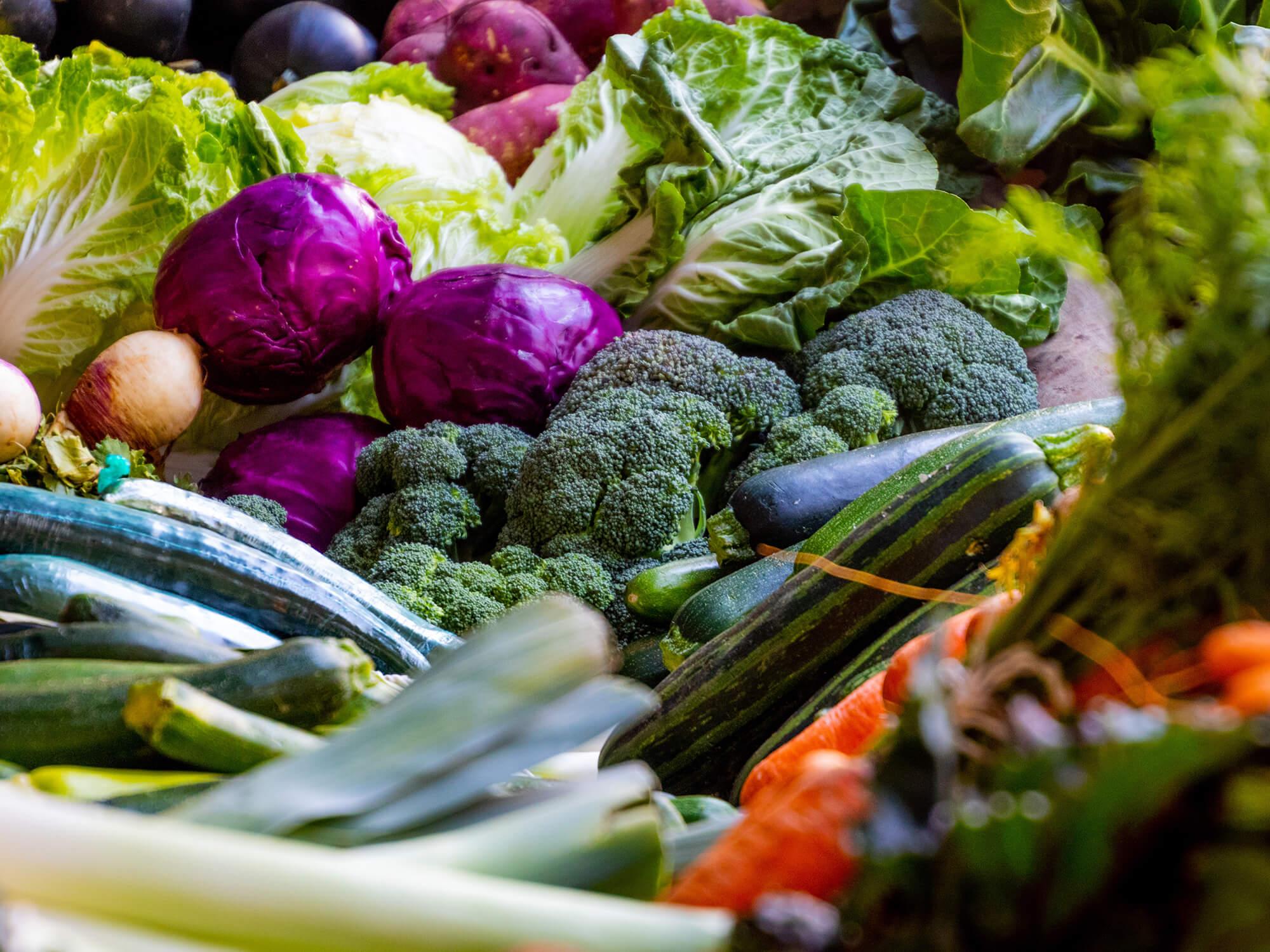 fresh vegetables on a market stall