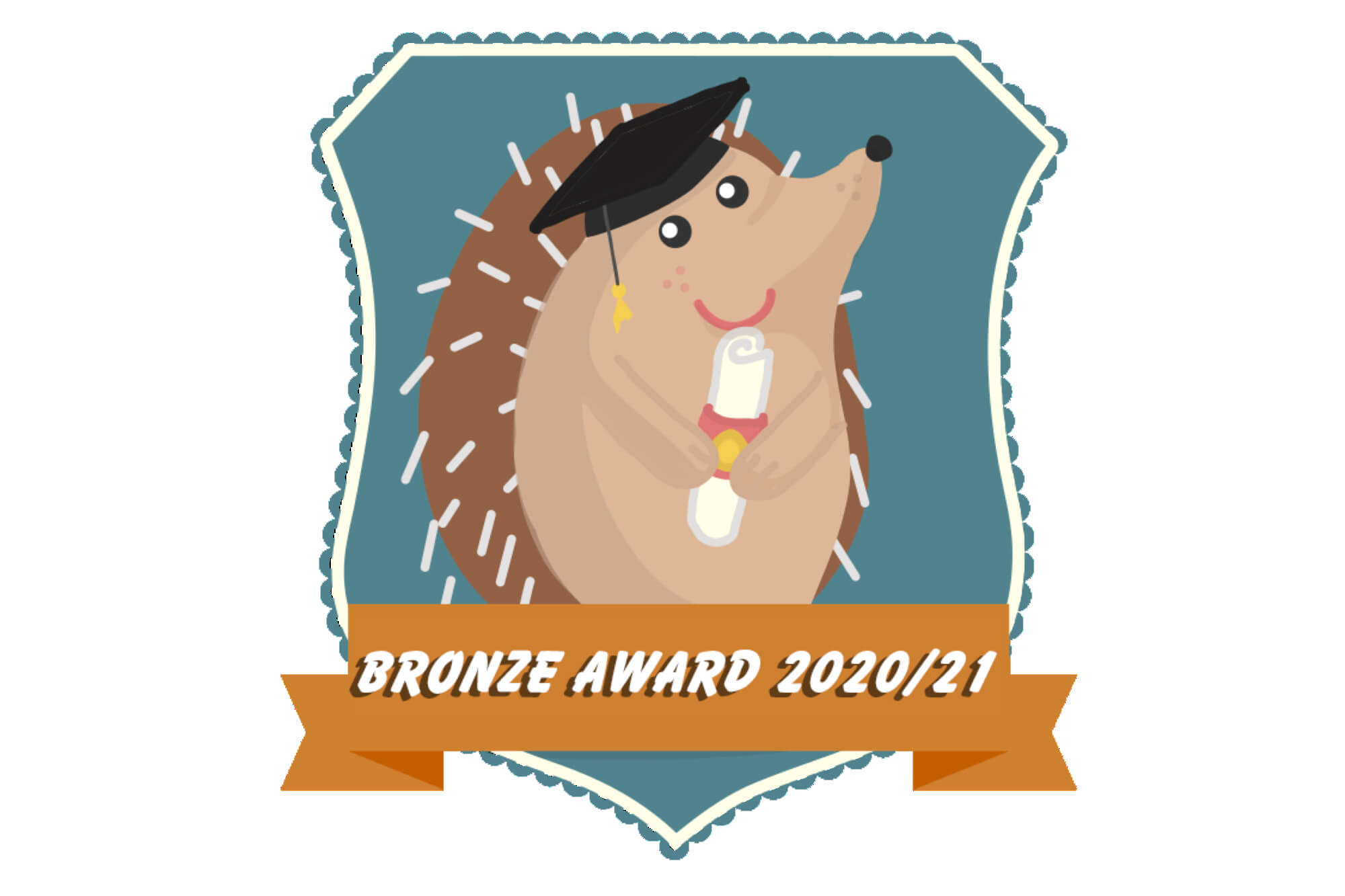 A cartoon hedgehog holds a certificate wearing a graduation cap. Text reads 'bronze award 2020/21.'
