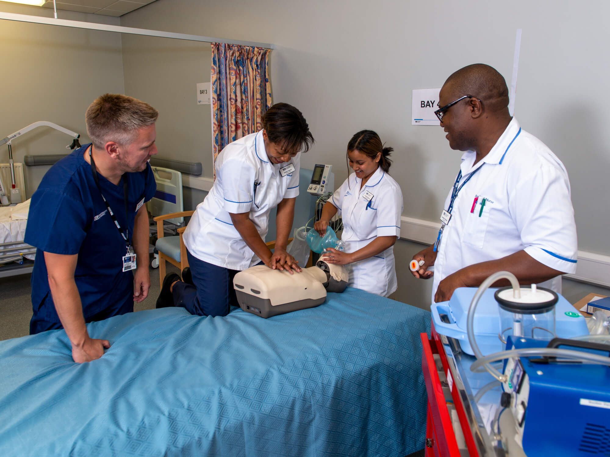 Nursing students with Senior Lecturer Guy Collins in our training ward