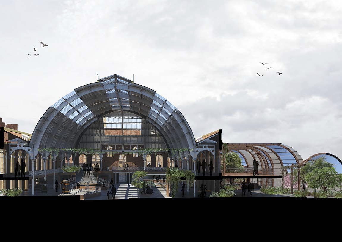 a cutaway view inside a large triple-height building with a curved roof and a two-storey extension