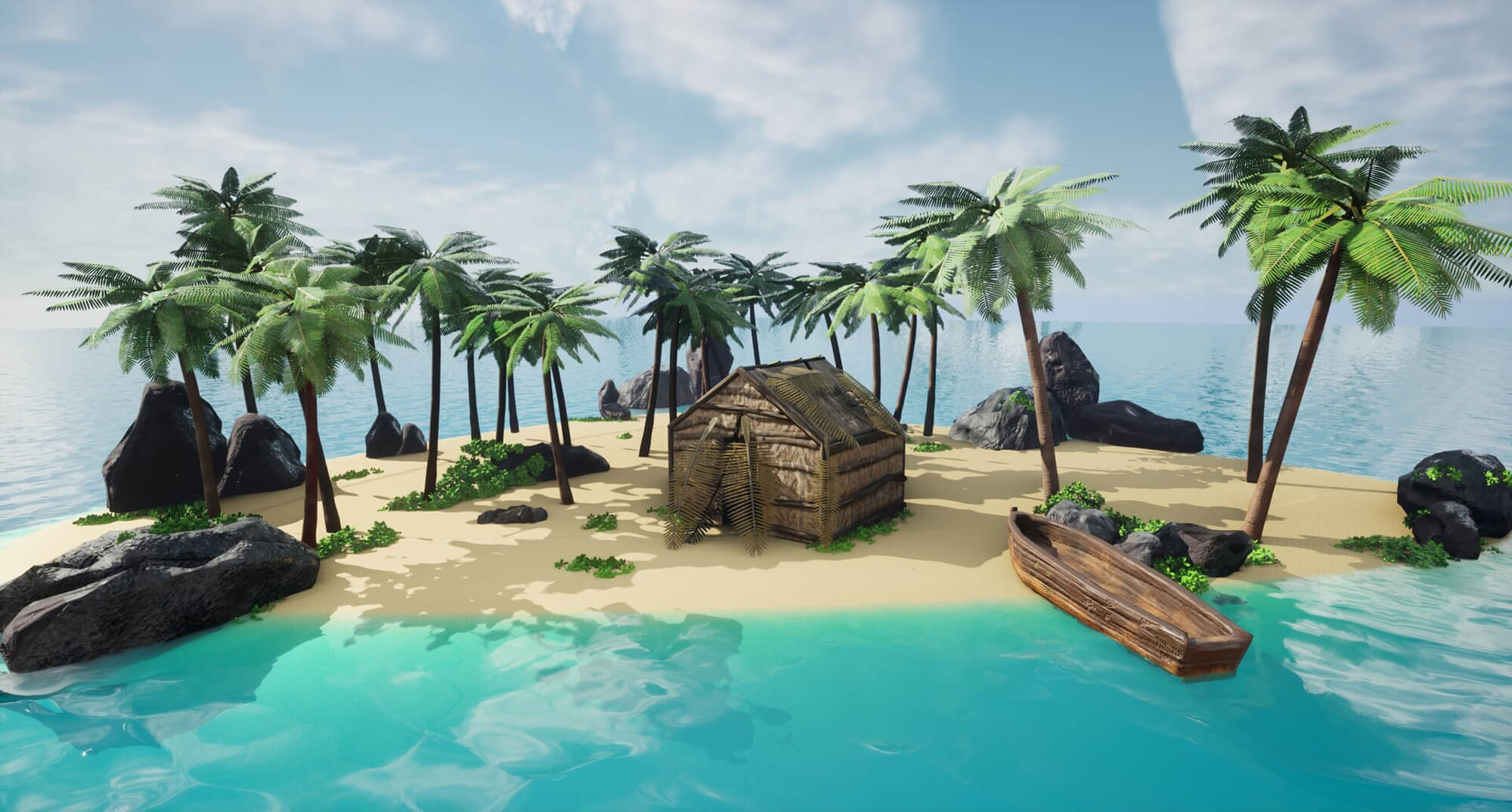 a tiny tropical island with palm trees, rocks and a wooden hut on the beach