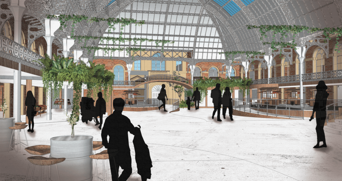silhouettes of people walking under a high, curved roof. There are seating areas and internal foliage, and a mezzanine level.