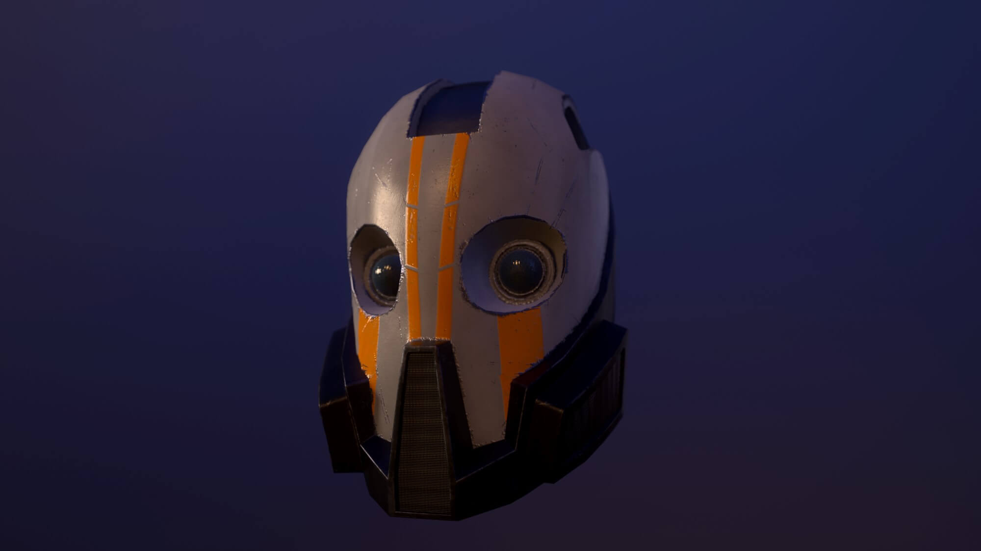 a full-face, painted helmet with eye lenses and breathing mask built in