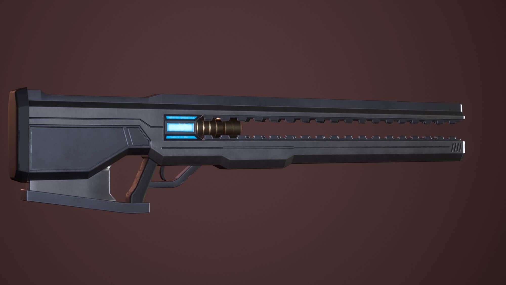 a two-handed rail gun