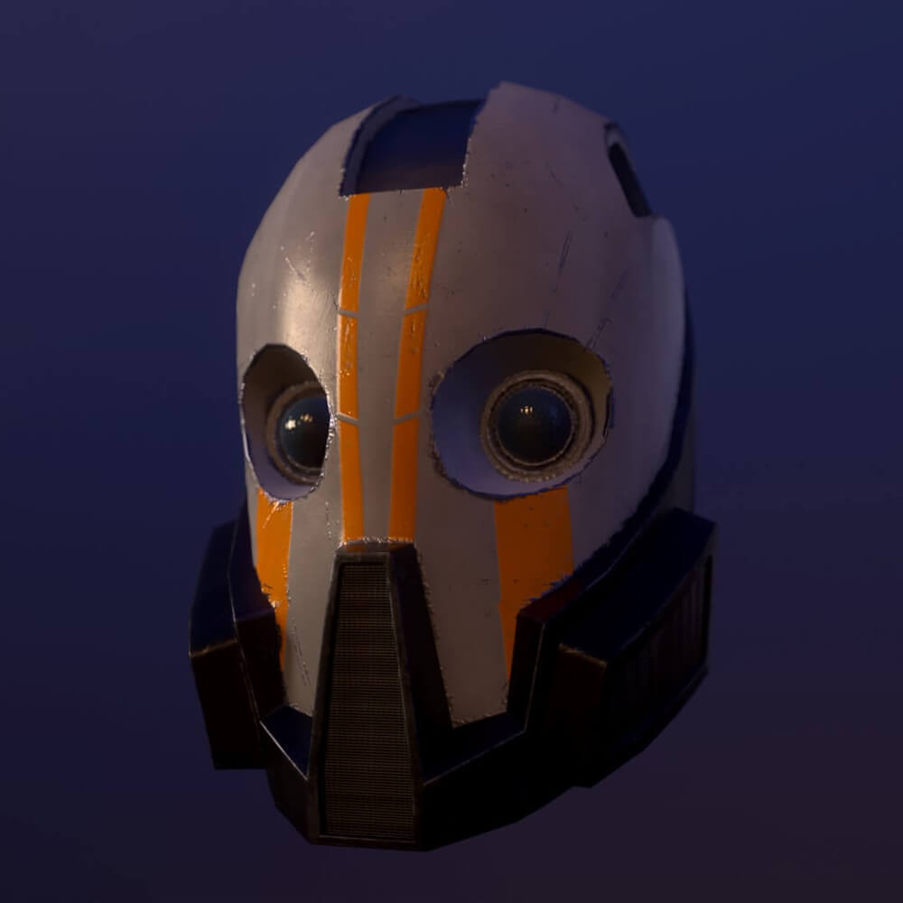 A computer rendering of a helmet on a blue background.