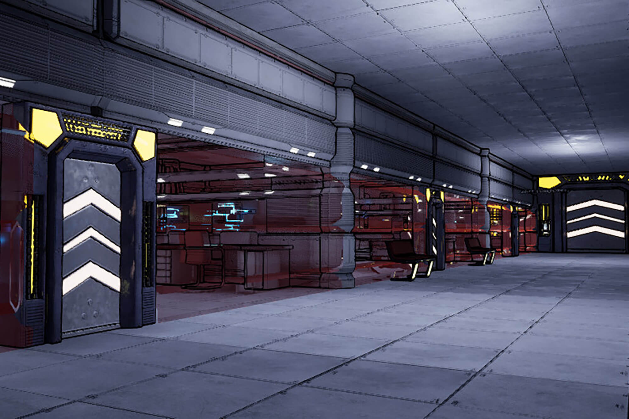 A futuristic industrial hallway with bays off it and heavy automatic doors