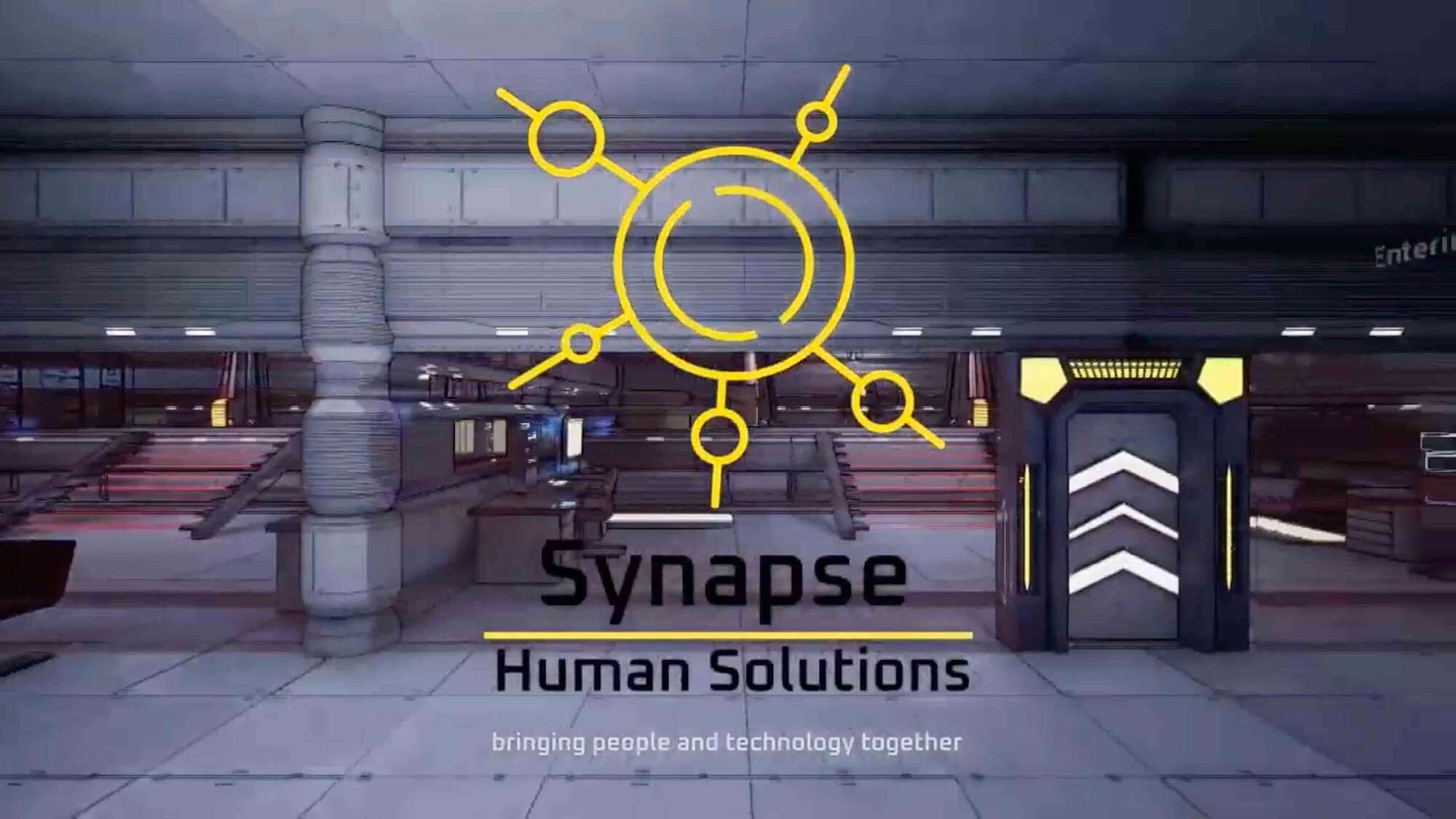 A futuristic industrial hallway with bays off it. Synapse Human Solutions logo. Text: bringing people and technology together