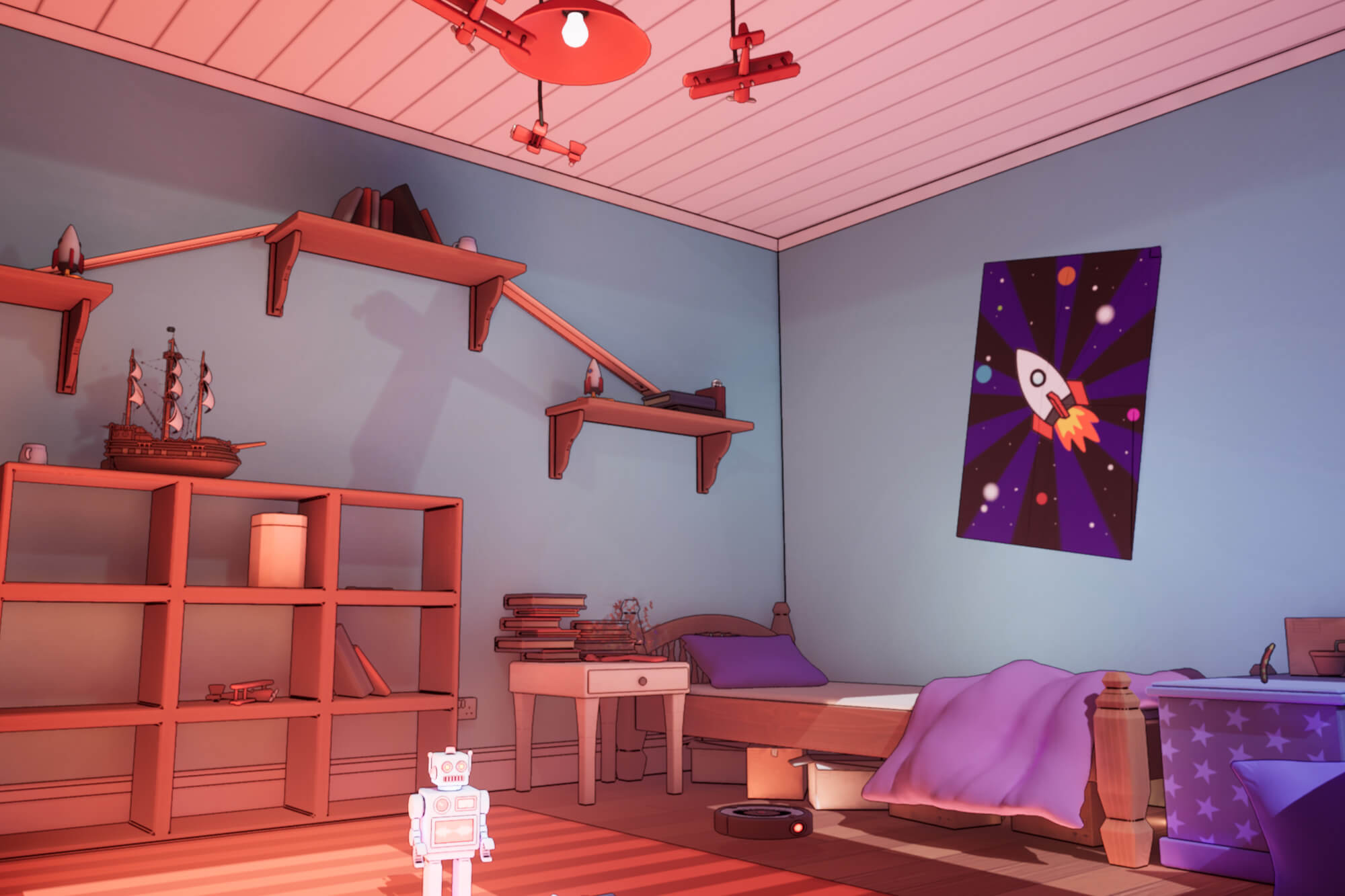 a child's bedroom with a space rocket poster, model planes, a toy robot and a model ship