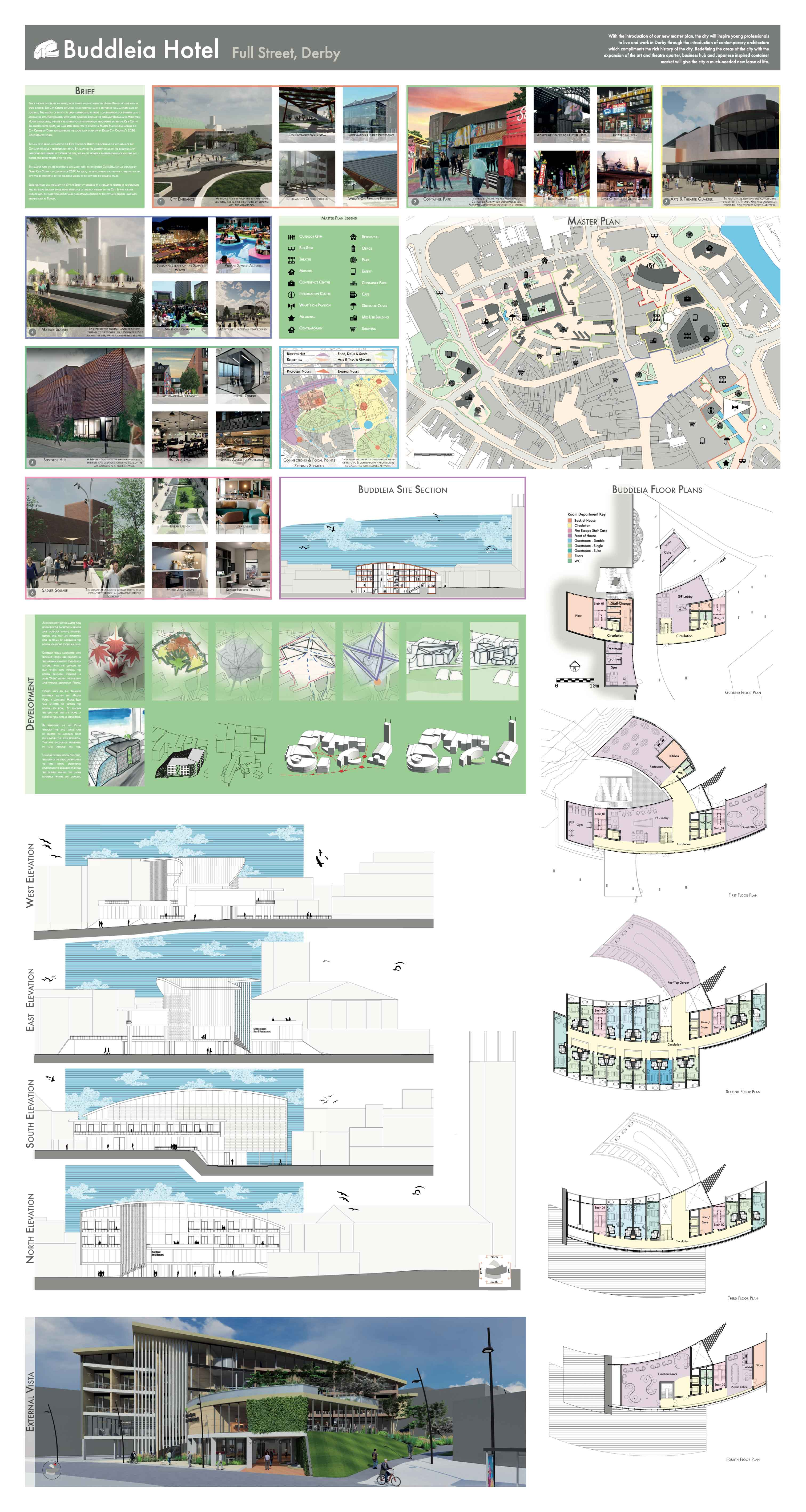 Page one of the Buddleia Hotel Project Overview showing elevations and floor plans