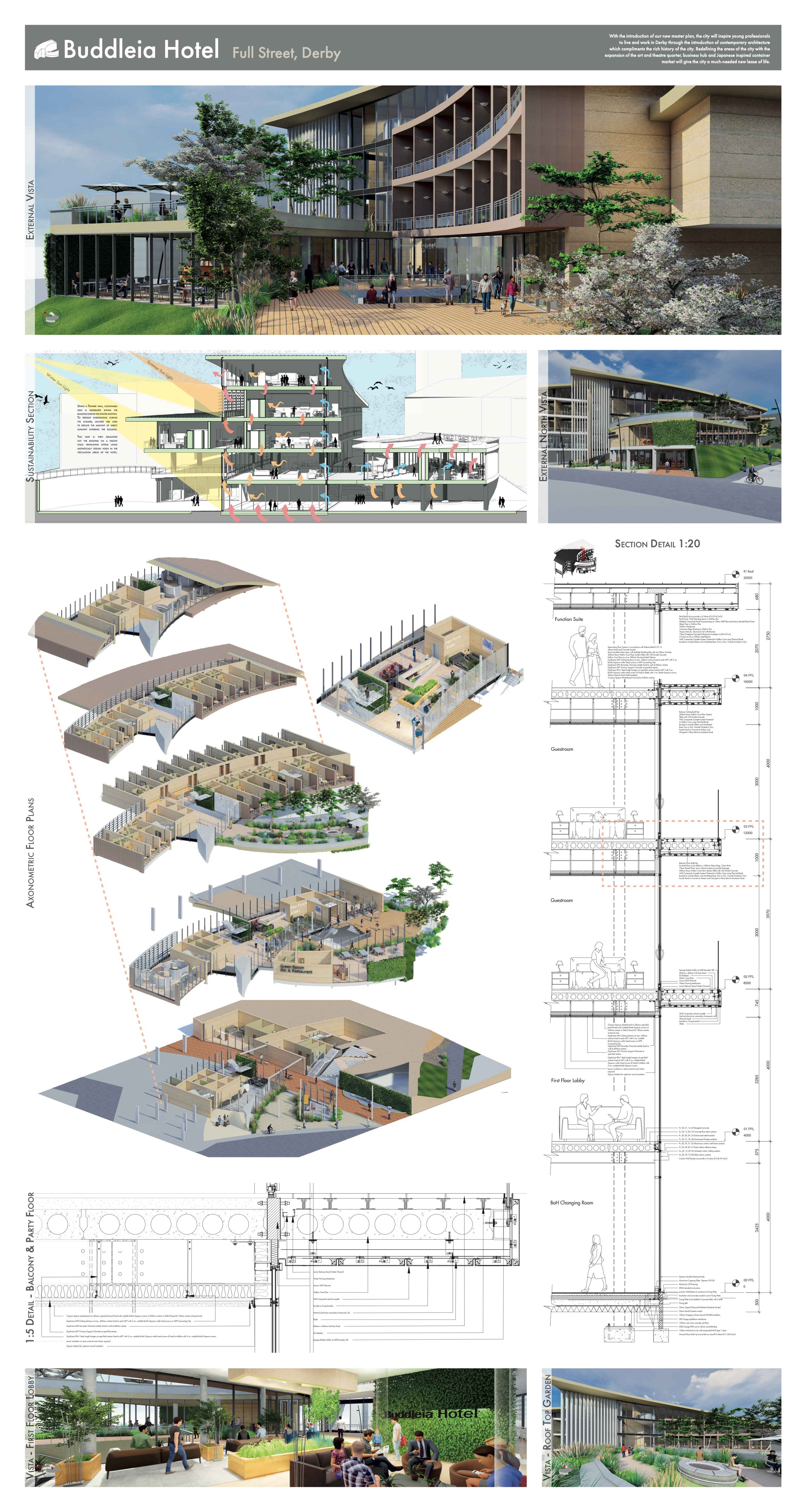 page two of Buddleia Hotel Project Overview showing axonometric (3D) floor plans and section detail