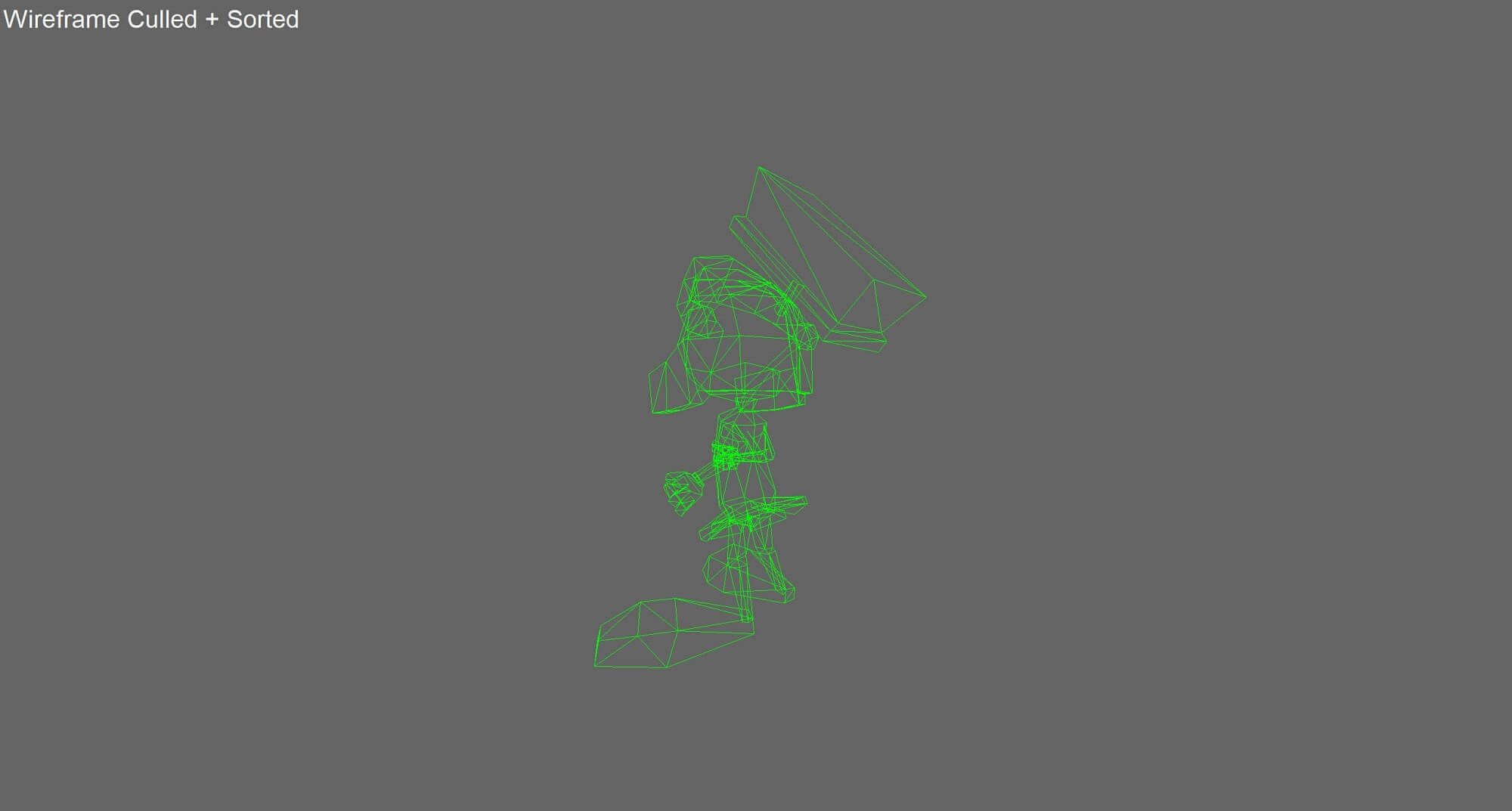 An animated character, with large feet and dressed as a comical Roman legionary, drawn in green geometric lines