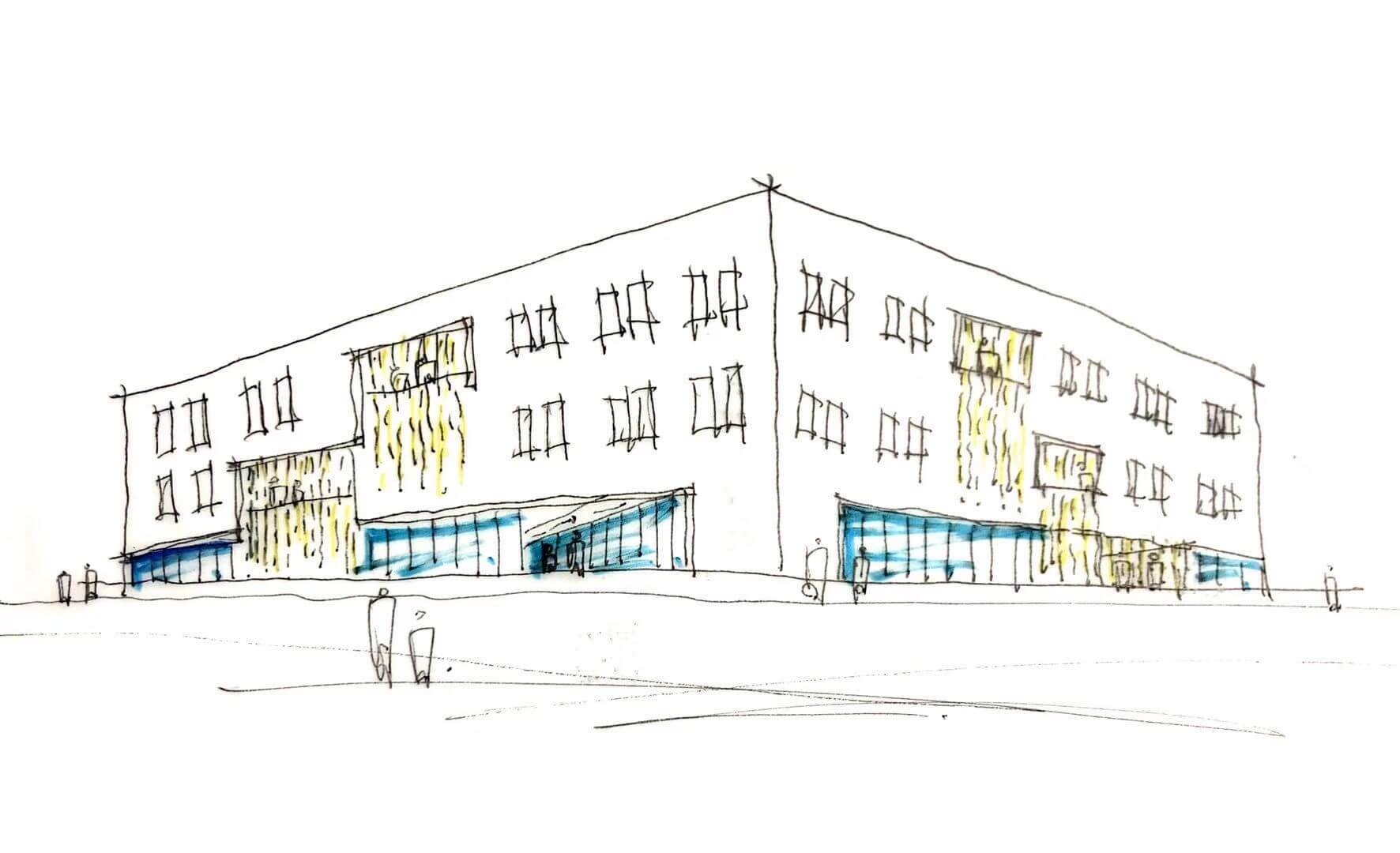 a sketch of a white three-story block building with glass externals wall on the ground floor
