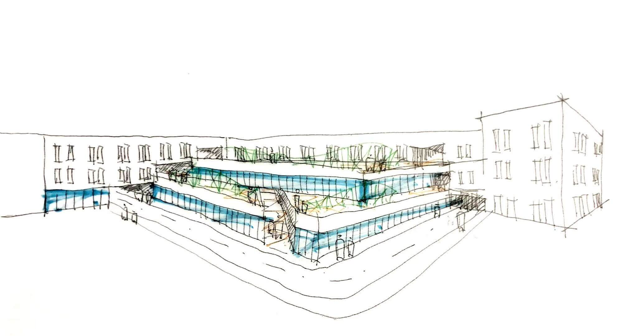 sketch of a large, three-storey building with a single-storey and double-storey glass-walled section creating a terrace effect