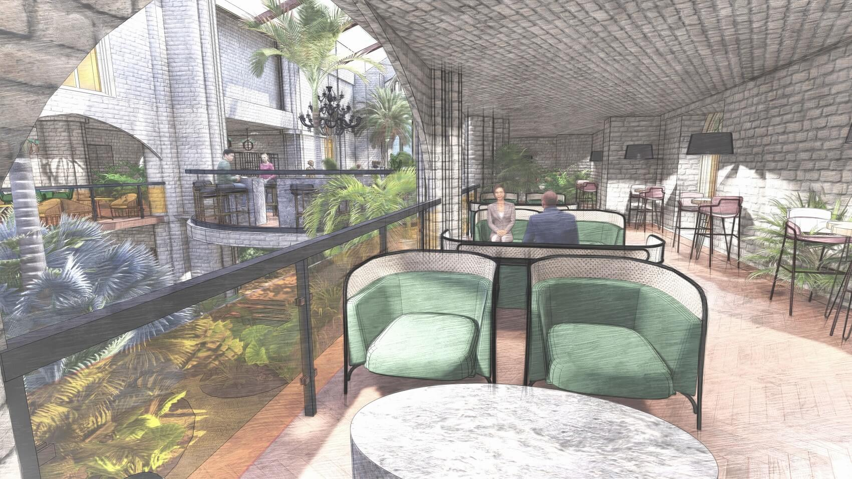 Saint Werburgh's & Bold Lane balcony to bar view