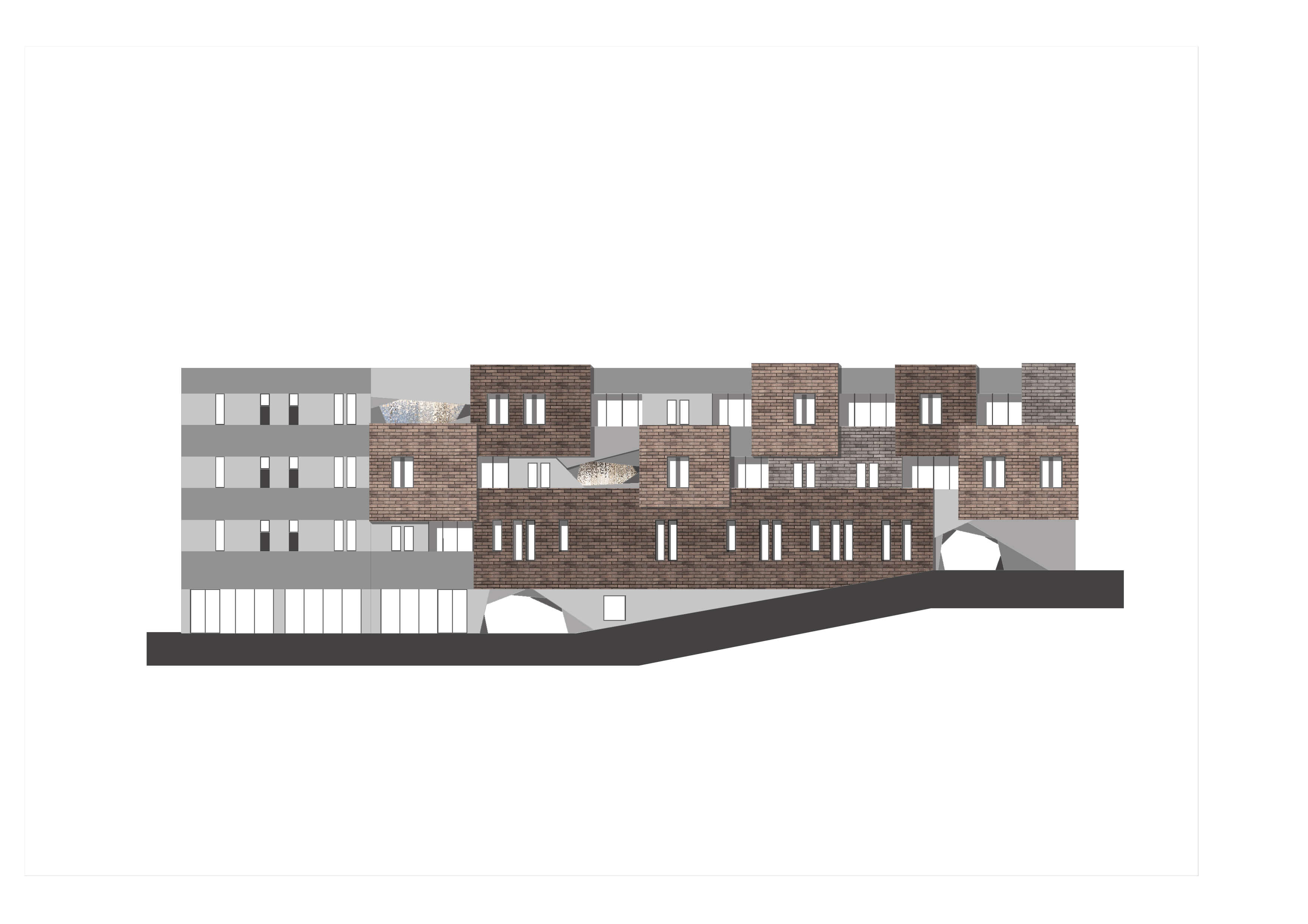 a wide three-storey, flat-roofed building built on a slope with three storeys at one end and four at the other