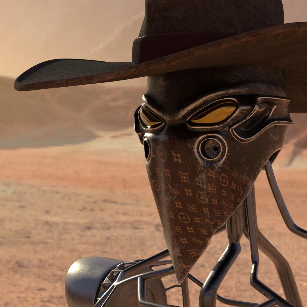 skeletal robot cowboy stands on an arid plain