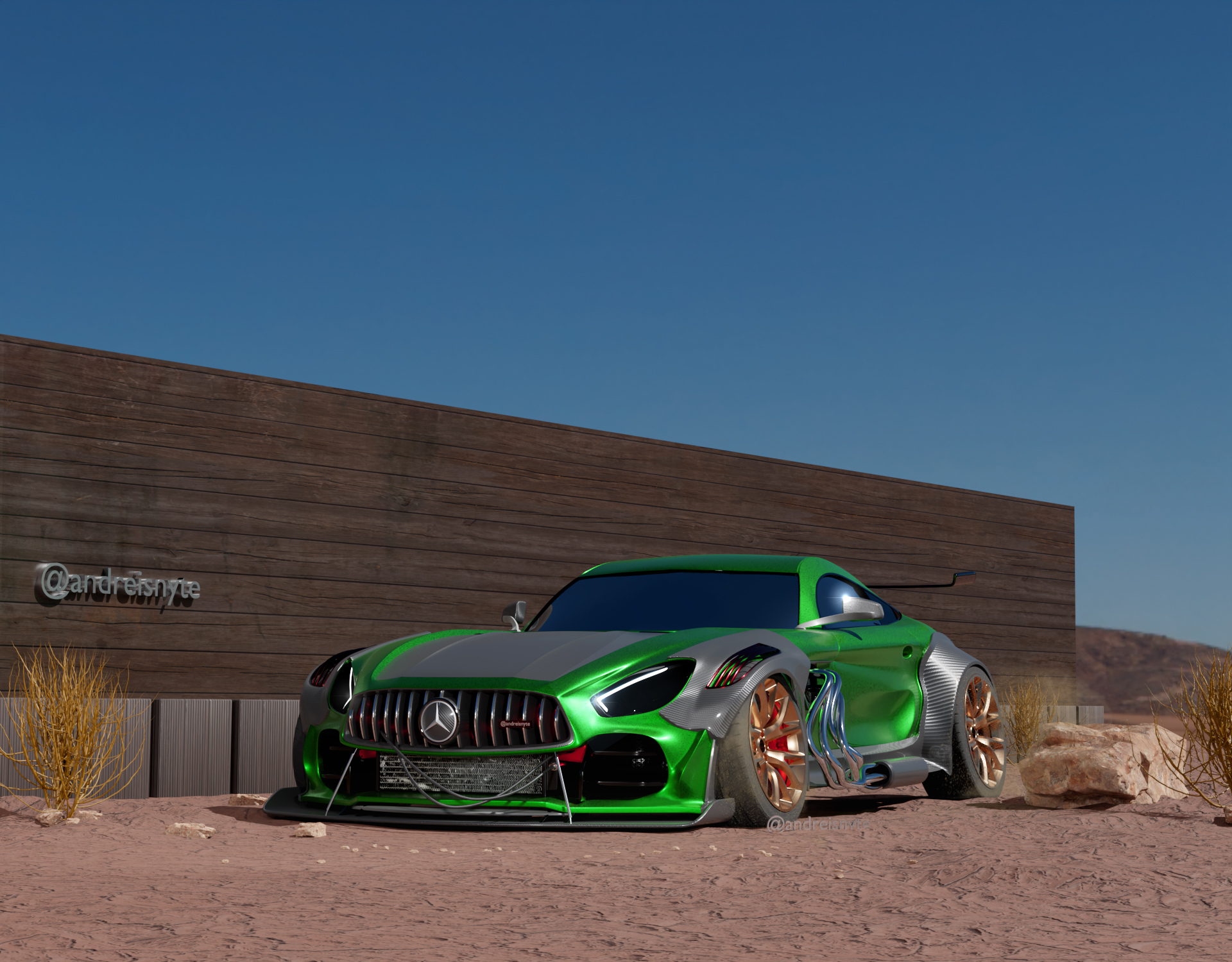 Green sports car ready to drive