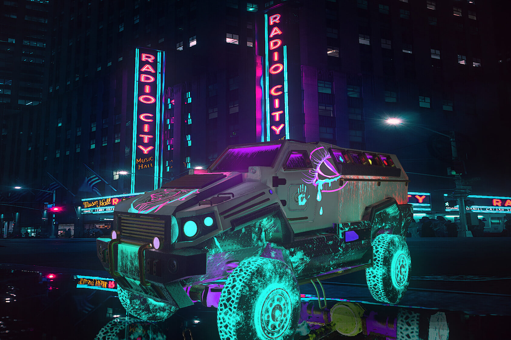 Night scene with neon painted truck and neon 'Radio City' signs on building behind