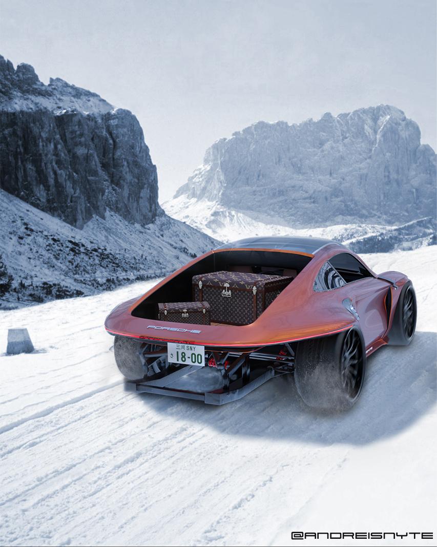 Rear view of a Porsche car drifting in the snow
