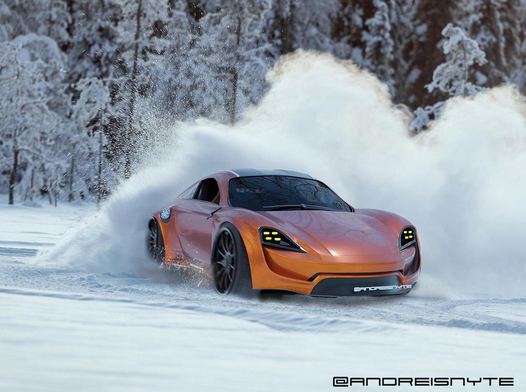 Orange Porsche drifting through snow