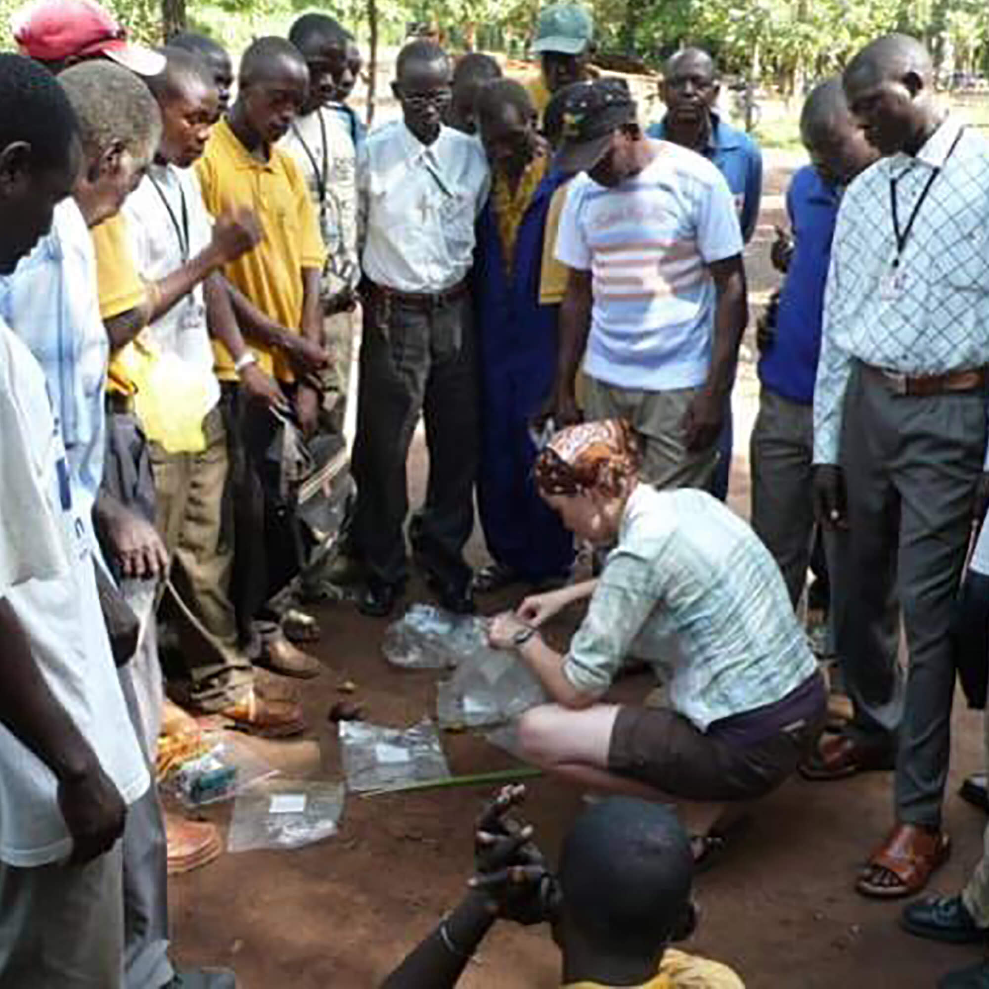 Anne Danby teaching environmental science to South Sudanese forest workers