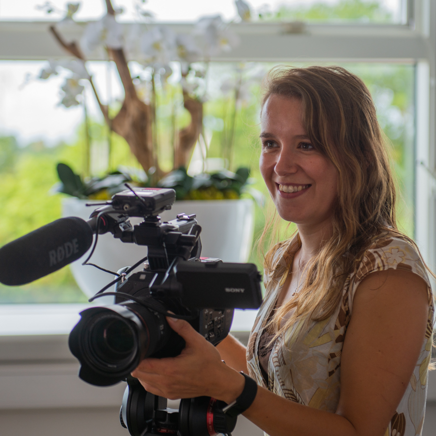 Charlotte Ellis filming at the University of Derby