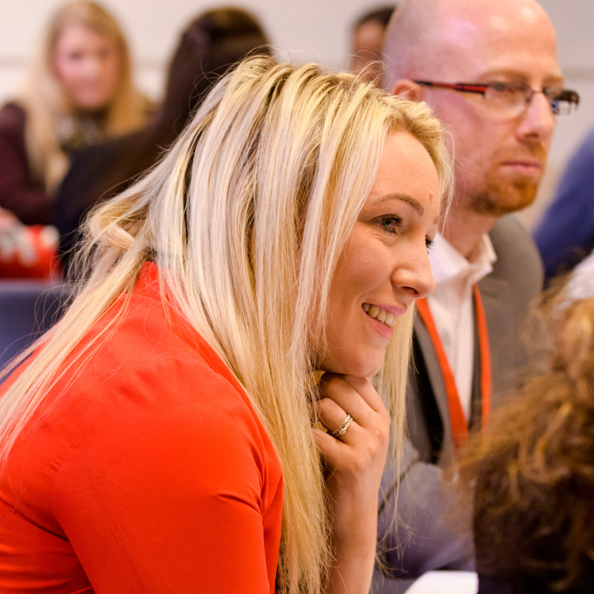 Leanne Drennan with colleagues at a conference