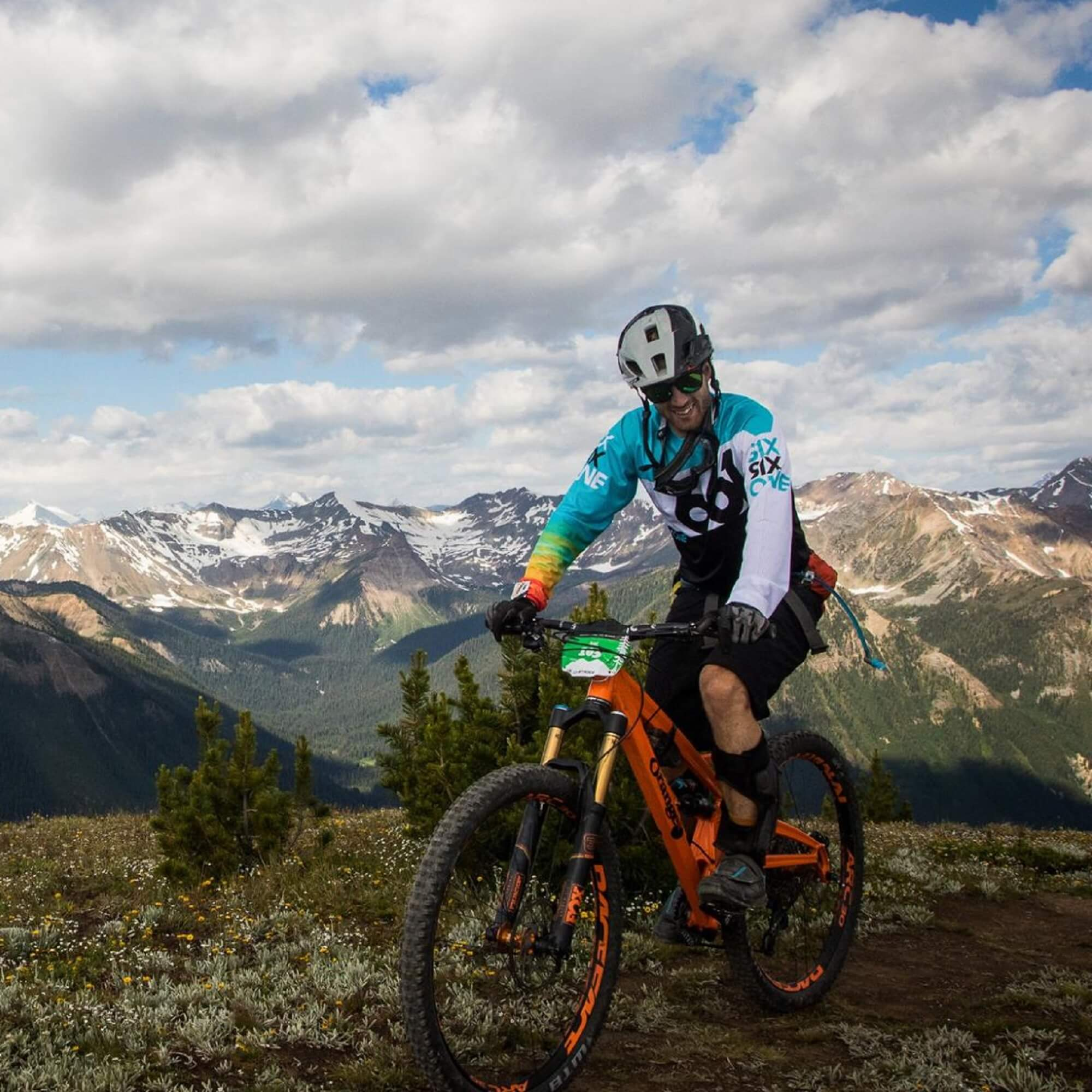 Dr Joel Chidley mountain biking in Canada