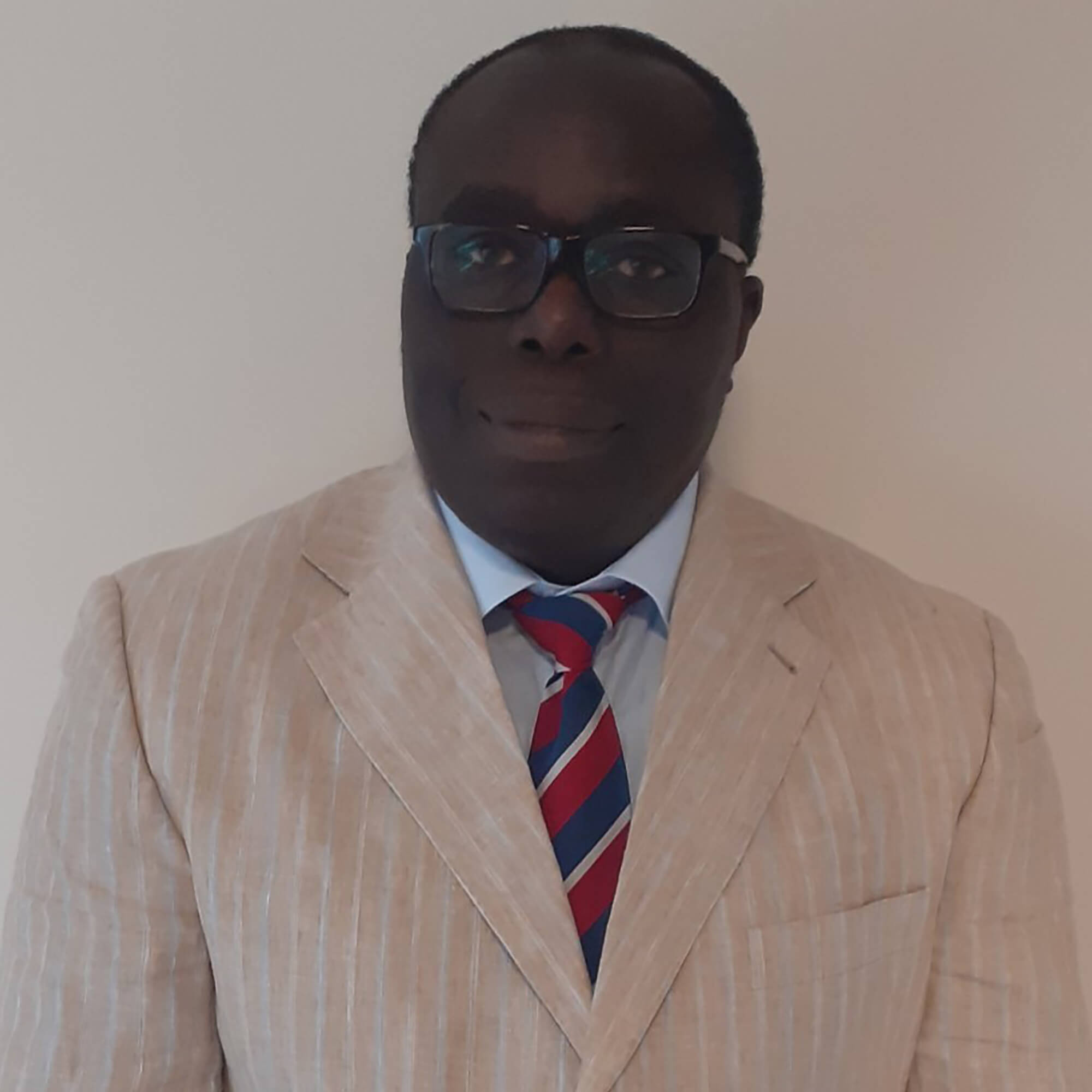 Taiwo wearing a suit and tie