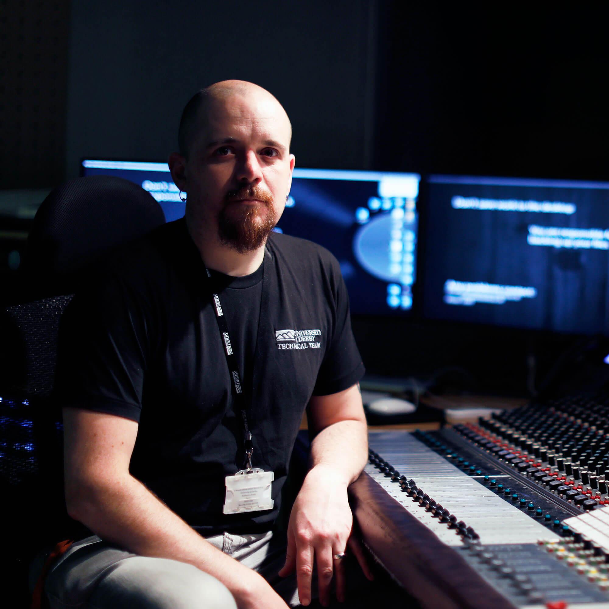 Mark Randell in an audio lab.