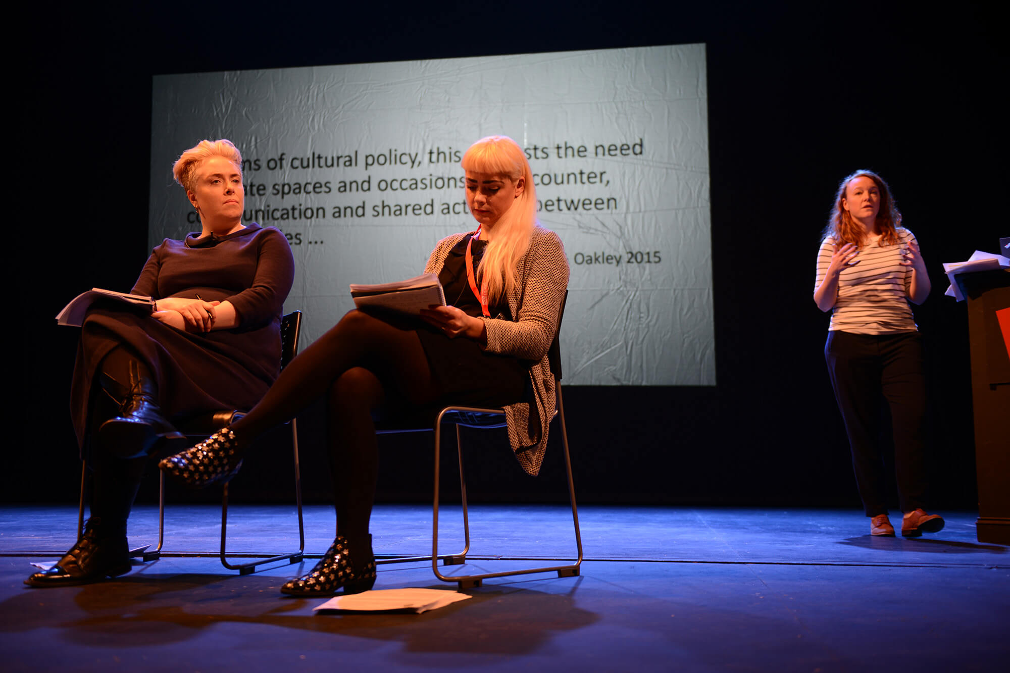 Dr Cara Courage, Dr Rhiannon Jones and Dr Victoria Barker on stage at Derby Theatre