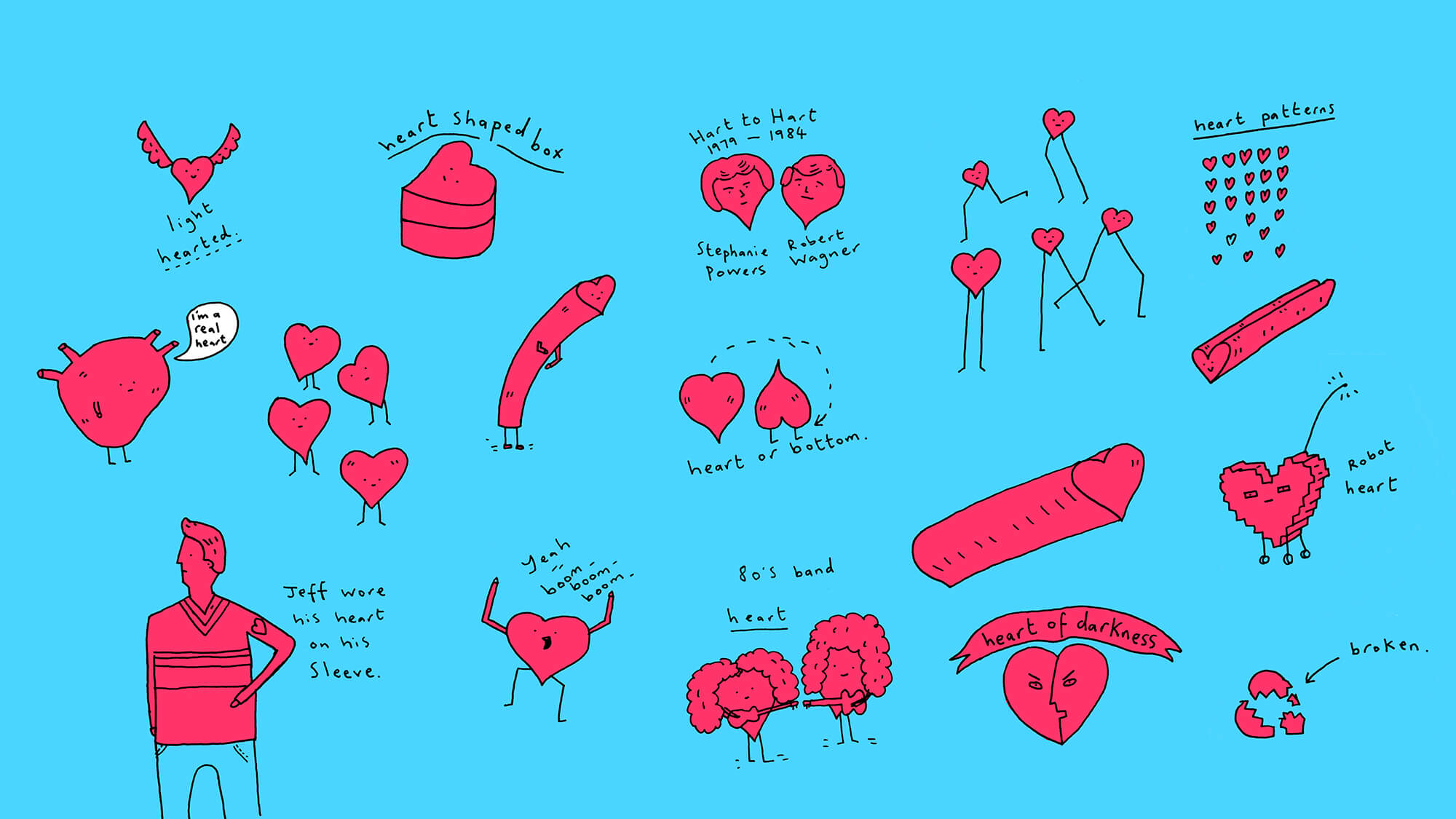 "Illustrations playing on the word ""heart"" eg light hearted, wearing your heart on your sleeve, broken hearted"