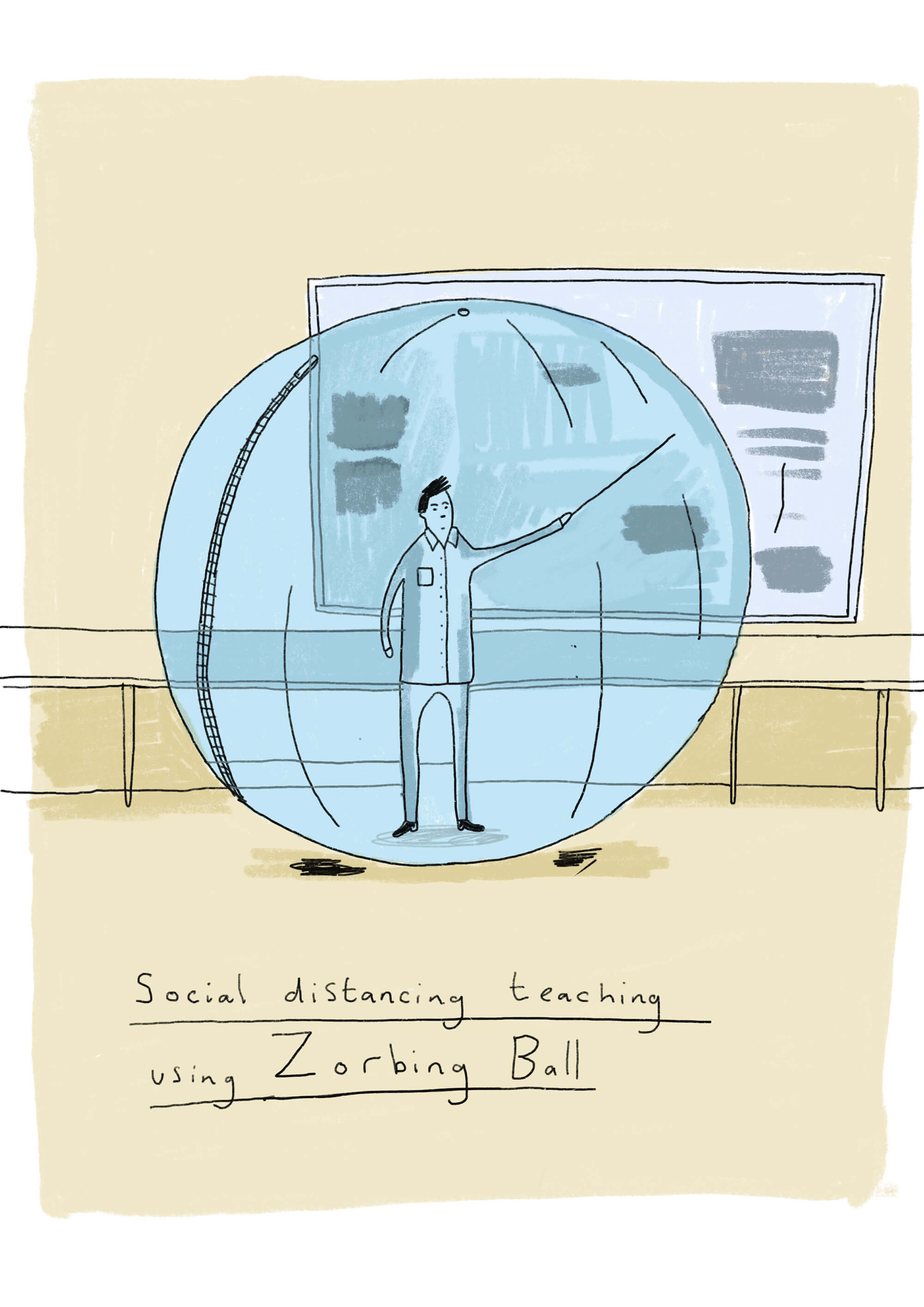 A teacher points at a board while standing inside a Zorbing ball